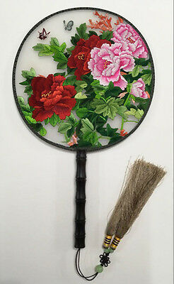 Lifelike Handmade Stitching Chinese Embroidery Double-side Natural Silk Fan
