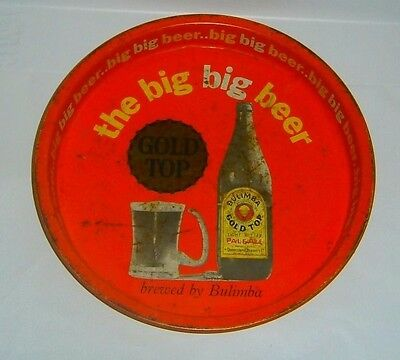 Original Bulimba Gold Top Beer tray 35 cm round for home bar or collector Rare