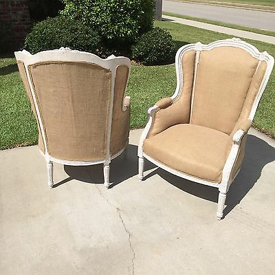 Antique Painted Louis XVI French Style Bergere Pair Burlap Chairs