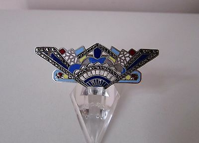 Antique French Art Deco Sterling Silver Enamel Marcasites Brooch Pin Marked