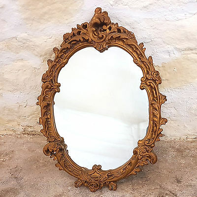 Rococo Style Gilt Framed Oval Wall Mirror (Antique)