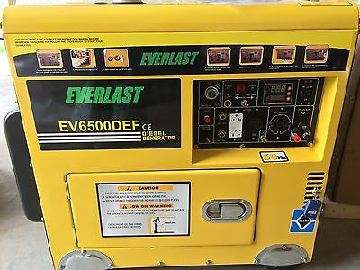 Everlast Quiet DIESEL 6500watt generator with Over size Fuel tank,Remote Start