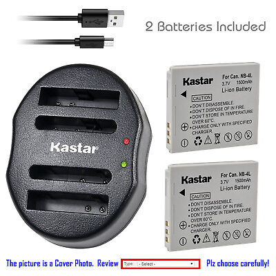 Kastar NB-4L Battery Charger for Canon PowerShot  SD940 IS SD1100 IS ELPH 300 HS