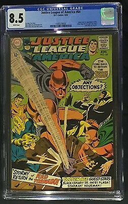 Justice League of America #64 CGC 8.5 Origin & 1st SA Red Tornado! White Pages!