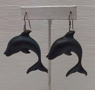 Rare Vintage Estate Dolphin Porpoise Dangling Pierced Hook Earrings Beach Marine