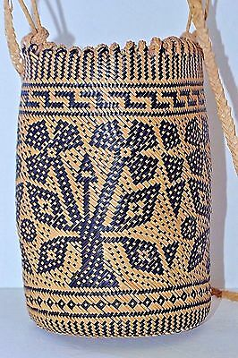 Beautiful Borneo Dayak Woven Round Bag Shoulder Rattan Women Strand