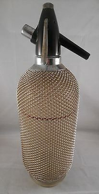 Vintage Soda Water Syphon Bottle with Metal Mesh - CZECHOSLOVAKIA - VGUC