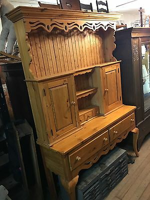 English Rustic Pine Cabinet Hutch Display Buffet Server Nice