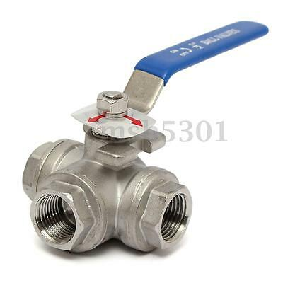 1/2''DN15 Stainless Steel 3way L-Port Ball Valve Female Port T Type Vinyl Handle
