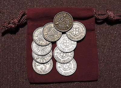 British Silver Threepence - Set of 10 Different - Gift Bag & Free Shipping -08