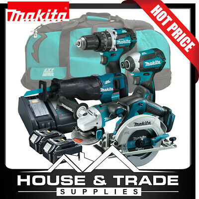 Makita Brushless Tool Combo Kit 5 Piece Cordless + 2x 5.0Ah Batteries & Charger