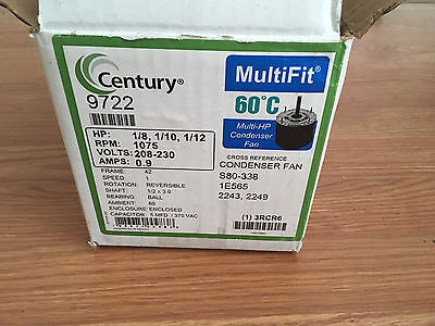CENTURY 9722 Condenser Fan Motor, 1/12to1/8HP, 1075 rpm Frame Size 42