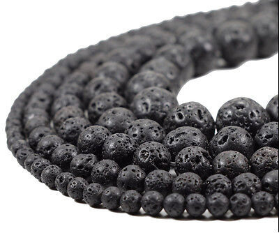 Natural Bead Gemstone Black Volcanic Lava  Charms Round Stone Beads 4/6/8/10mm