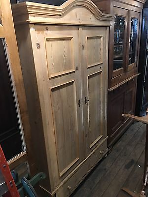 Antique 19th Century Danish Double Door Pine Armoire, Stripped Clean Nice