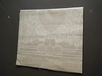 LOT 3 Antique  Dinner guest towel Irish Linen Damask beige deco never used