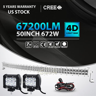"""White 50Inch 672W +2X 4"""" 18W Curved Led Work Light Bar Combo Offroad 4WD ATV UTE"""