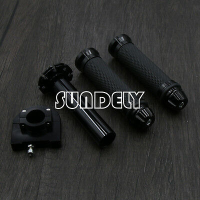 7/8'' 22mm Motorcycle Motorbike Handlebar Hand Grip & Throttle Twist Tube Black