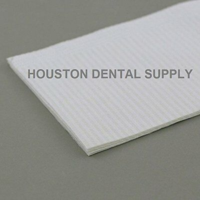 "Disposable Dental Tattoo Bibs 2 + 1 Ply Tissue Towell 50 Pcs 13""x18"" WHITE"