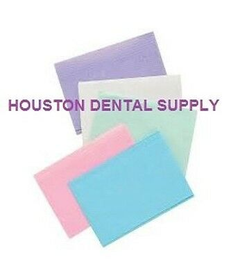 "50 Disposable Dental Tattoo Bibs 2+1 Ply Tissue Towell 13""x18"" 5 ASSORTED COLORS"