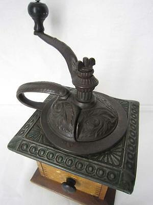 Antique Primitive Parkers Ornate Wood & Cast Iron Coffee Mill Grinder #430 WORKS