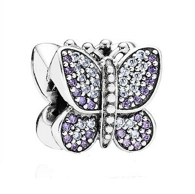 S925 Sterling Silver EURO Stunning Sparkly Purple Butterfly Pave CZ Charm