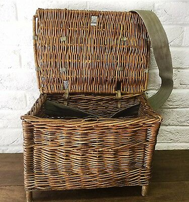 SMALL Rustic Vintage Wicker Fishing Basket/Creel Tackle Storage Box/Hamper