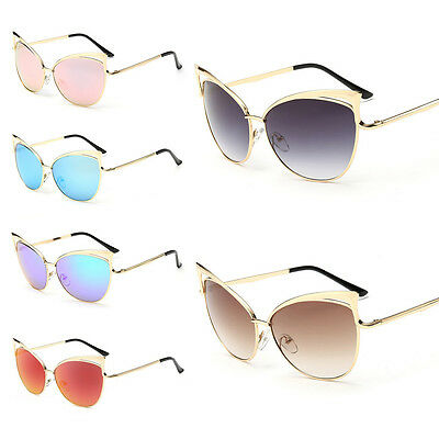 Fashion Womens Gold Metal Cat Eye Oversized Designer Retro Vintage Sunglasses