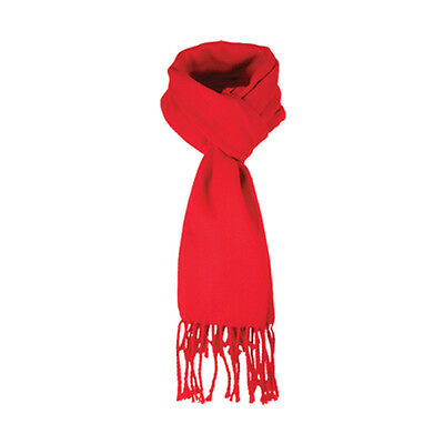 A FAB JENDI Ladies/Mens Winter Scarf Red with Fringes GR8 4 Work Football Snow