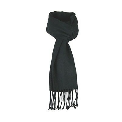 JENDI Ladies Mens Warm Winter Scarf BLACK w Fringes GR8 4 Footy + Snow Trip