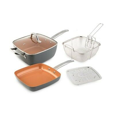 Cookshop Copperglaze 6 in 1 Pan with Accessories and Frying Pan
