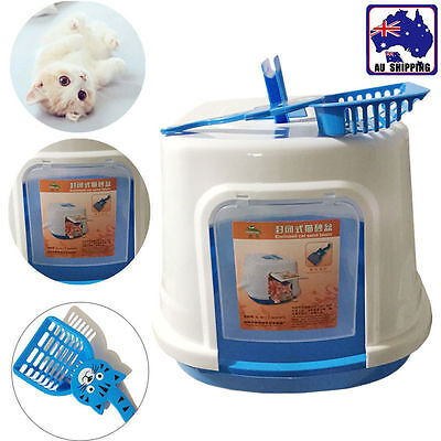 Portable Hooded Pet Cat  Litter Box Toilet Plastic House with Scoop PTOI51006