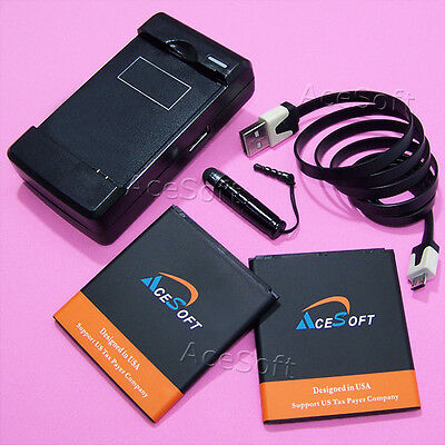 AceSoft 2x 5600mAh Battery Wall Charger Cable Pen for Samsung Galaxy S4 SPH-L720