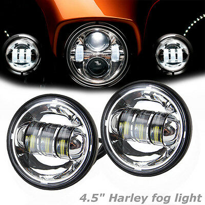 "Pair 4.5"" Motorcycle Cree LED Auxiliary Fog Passing Light Headlamp For Harley"