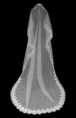 Ivory extra long cathedral veil 118 inch Flower lace bridal wedding essential