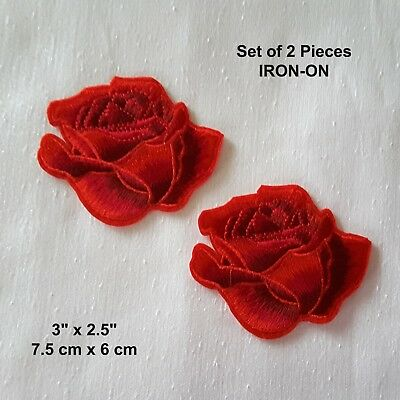 Red Rose Embroidered Iron-on Emblem Flower Badge Patch  Blooming Rose Applique