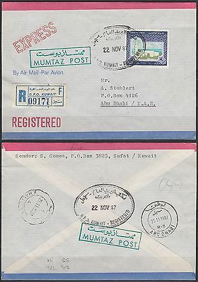 1987 Kuwait Express-R-Cover to Abu Dhabi, MUMTAZ POST, Sief Palace [bl0194]