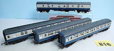Hornby 'oo' Gauge Lot Of 4 Blue/grey Full Brake/sleeper & 2Nd Open Coaches #816Y