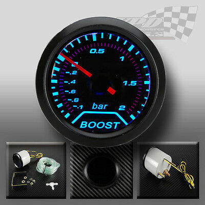 """Turbo Boost gauge smoked dial face 52mm 2"""" (BAR) Blue led interior dash"""
