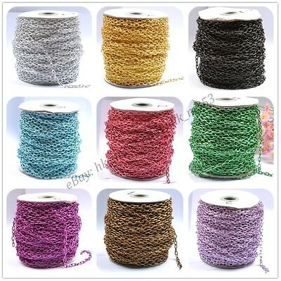 12 Colors 2M/100M Silver/Gold Plated Cable Open Link Iron Metal Chain Findings