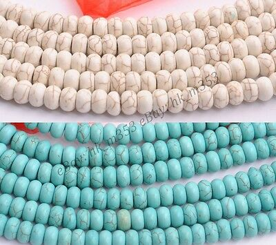 Turquoise White Howlite Gemstone Rondelle Spacer Beads 16''  6MM 8MM 10MM 12MM