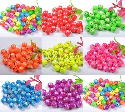 8/10/12MM Mixed Round Acrylic Spacer Loose Beads Charms Jewelry Findings