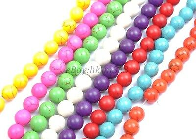 "16""Wholesale 6/8/10MM Round Turquoise Gemstone Spacer Loose Beads Charms Jewelry"