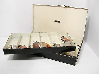 Vintage Antique Farlow Japanned Lure Tackle Box With Lures Spoons Devons Etc