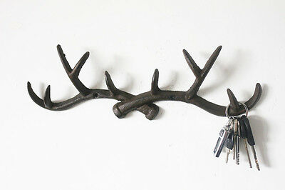 Vintage Cast Iron Deer Antlers Wall Hook Shabby Chic Coat Rack Key Holder Hanger