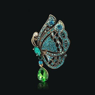 Antique Gold Green Blue Crystal Butterfly Vintage Inspired Statement Brooch