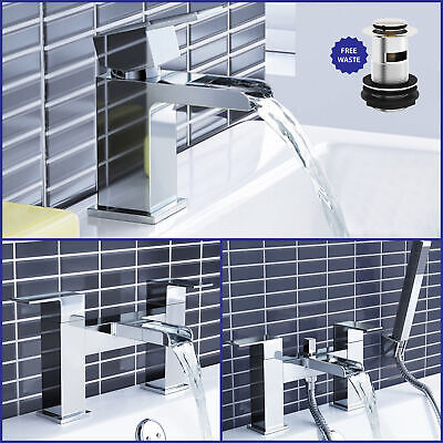 Modern Bathroom Chrome Phase Basin Mixer Sink Bath Filler Shower Tap Set & Waste