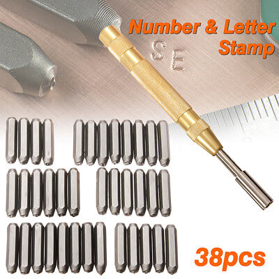 38 pcs Steel Number Letter Metal Punch Set Stamp Automatic Center Alphabet