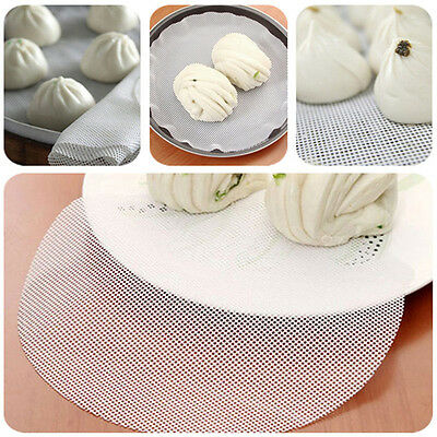 1pcs Steam Dim Sum Silicone Mat White Round Non-stick Durable Wok Bamboo Steamer