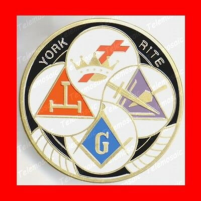 York Rite 4Logo Car Auto Badge Masonic Emblem Royal Arch Mason Triple Tau+Knight