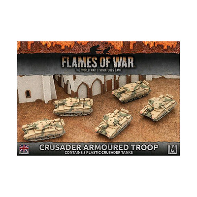 FoW-BBX39 - FLAMES of WAR: 15mm; Desert Rats Crusader Armoured Troop (Plastic x5